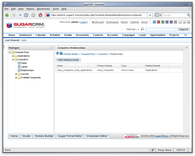 The relationship in SugarCRM